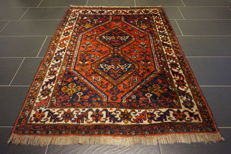 Collector's item, handwoven Persian carpet, Qashqai Patina nomad carpet, wool on wool, made in Iran, 120 x 160 cm