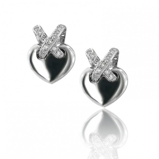 White Gold and Diamond Heart Stud Earrings 18k white gold -  diamond round brilliant 0.69 G - H colour VS clarity -  EAR000006