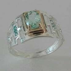 14kt solid gold & silver aquamarine mens ring - size 11