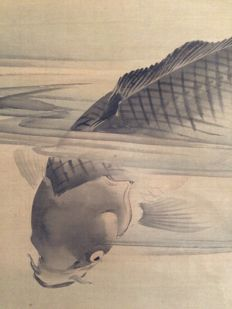 'Carps' Old detailed scroll painting on cloth, sealed - Japan - ca. 1870