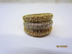 Diamond gold ring 3 colors, Size 18