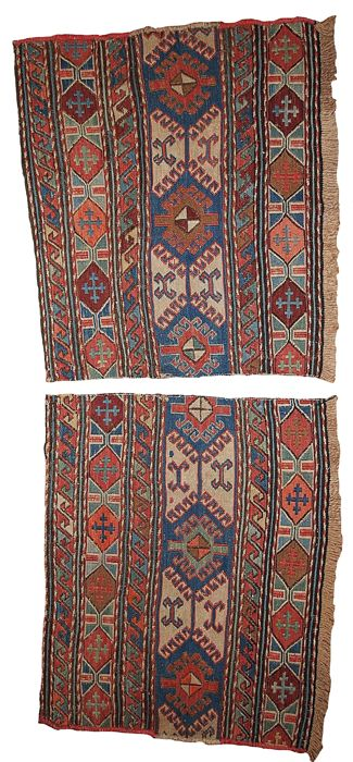 Hand made antique collectible Caucasian sumak pair of bag faces 1.4' x 1.8' ( 42cm x 54cm) 1900s