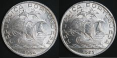 Portugal – 2 coins of 10 Escudos face value in silver – 1954 and 1955 – Portuguese Republic – Lisbon – FDC