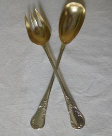 French Sterling silver salad serving set made by Pierre Queille, 1834-1846