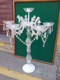 Glass candelabra with crystal droplets, 1960/70s