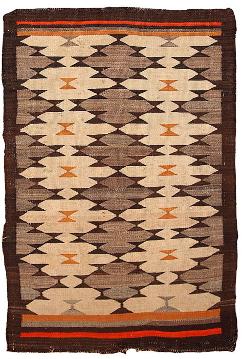 Hand made antique American-Indian navajo rug 3.1' x 4.10' ( 94cm x 152cm) 1880s