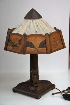 Black forest wood carved owl lamp - Germany - ca. 1910