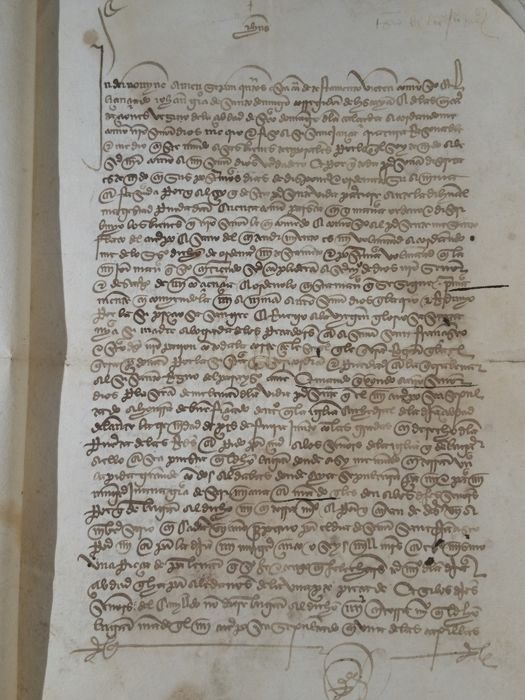 Handwritten testament made by the corregidor of Biscay (Spain) - 1437 for sale