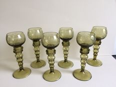 6 antique crystal Germann etched glass rummers Olive Green goblets with bubbles.