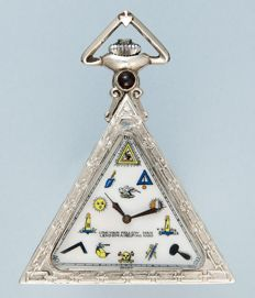 Swiss triangular masonic pocket watch