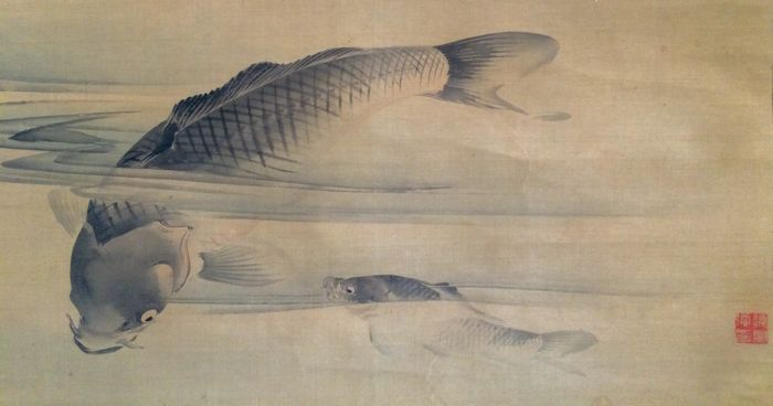 'Two Carps' - Beautiful old detailed scroll painting on cloth, sealed - Japan - ca. 1870