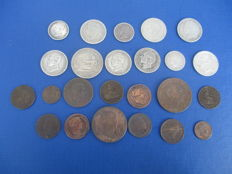 Spain, lot of 25 Spanish coins in copper and silver, 1833-1906