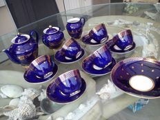 Russian porcelain Lomonosov coffee/tea set ; Evening ; cobalt blue gold 16 p