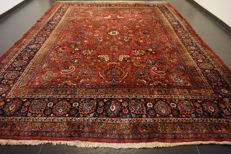 "Antique, hand-knotted, Art Nouveau, Persian palace carpet, Mashhad Kerman, 310 x 400 cm, made in Iran, ""signed by the master weaver"""