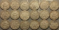 United Kingdom - Shilling 1938/1946 George VI (18 different) - silver