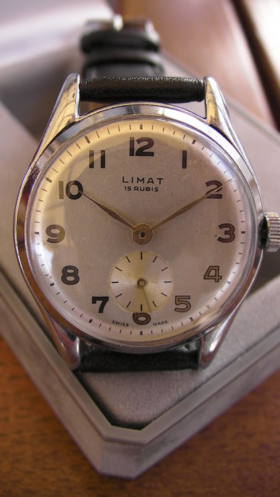 LIMAT -  MIlitary style - Swiss made - Men,s - 1940 - 15 Jewels - Collector rare very rare