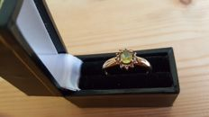 Gold Ring Set with Natural Green Sapphire and Diamonds. No reserve price!