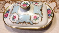 Fine hand decorated butter dish in Limoges porcelain