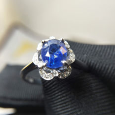 Sapphire, diamond, 18K gold ring. Sapphire weight: 1.22 ct. Diamond weight: 0,12 ct. * without reserve price *