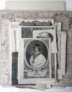 Ca. 95 prints by various artists (17th - 20th century) - Various subjects, landscape, religion, history, architecture, portraits, animals, Foreign and other.. - 17th 20th century