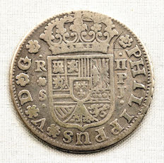 Spain – Felipe V – Two reales silver coin – 1737 – Seville