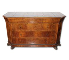 Walnut briar chest of drawers with maple wood trimmings - Italy, Naples, early 19th century