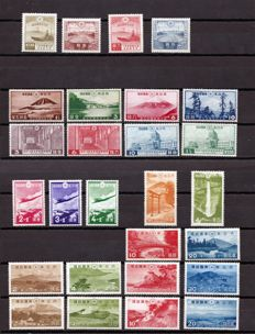 Japan 1935/1939 – Set of compete series – Yvert 222/5, 227/30, 234/7, 243/5, 279/82, 283/6 and 287/90