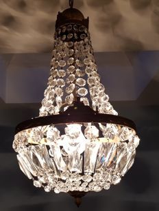 Chandelier made of crystal glass from the 1950s
