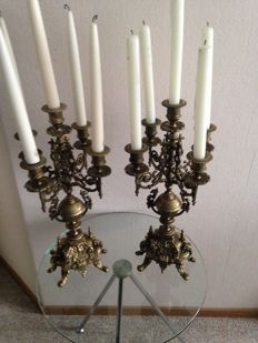 Two large brass / bronze plated five-branch candlesticks - early 20th century.