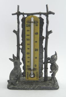 Silver plate Pairpoint figural desk thermometer – United States – 19th century