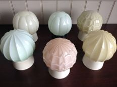 Six Art Deco style ceiling lamps in pastel colours