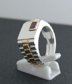 925 Silver ring with ruby 0.52 ct - size 20,2mm