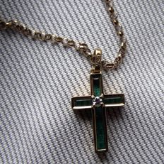 Emerald and Diamond Gold Cross and Chain