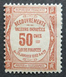 France 1908 – 50c red – Tax – Signed Calves with digital certificate – Yvert n°47