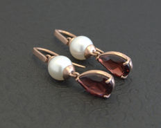 14k gold earrings with garnets and pearls ***no reserve price***