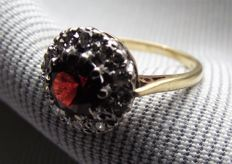 Heavy Vintage  Ruby and Diamond Cluster ring