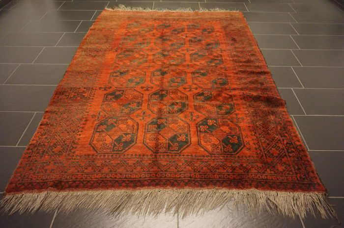 Wonderful antique handwoven Art Deco Afghan Oriental carpet 180 x 240cm Afghan, made in Afghanistan