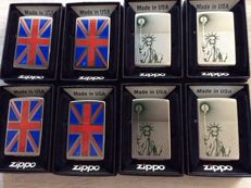 Zippo lighters type Planeta 4 x Union Jack and 4 x Statue of Liberty.