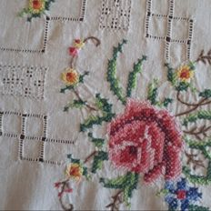Fine hand embroidered tea tablecloth - Italy.