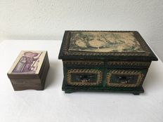Antique music box with jewellery box + Hummel music box