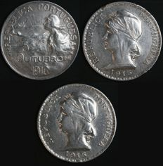 Portugal – 3 x 1 Escudo Coins in Silver – 1910 (5 de Outubro - October 5th) + 1915 + 1916 – Portuguese Republic – Lisbon – Excellent Lot