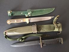 Bayonet U.S. 1940/56 and Winchester hunting knife end of the twentieth century