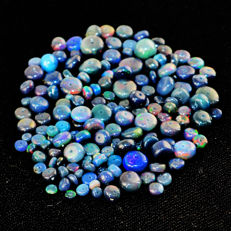 Lot of natural Blue Opal beads from Ethiopia - 3 to 11 mm - 60 ct