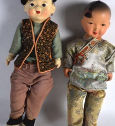 Two Chinese silk and porcelain dolls - China - mid 20th century
