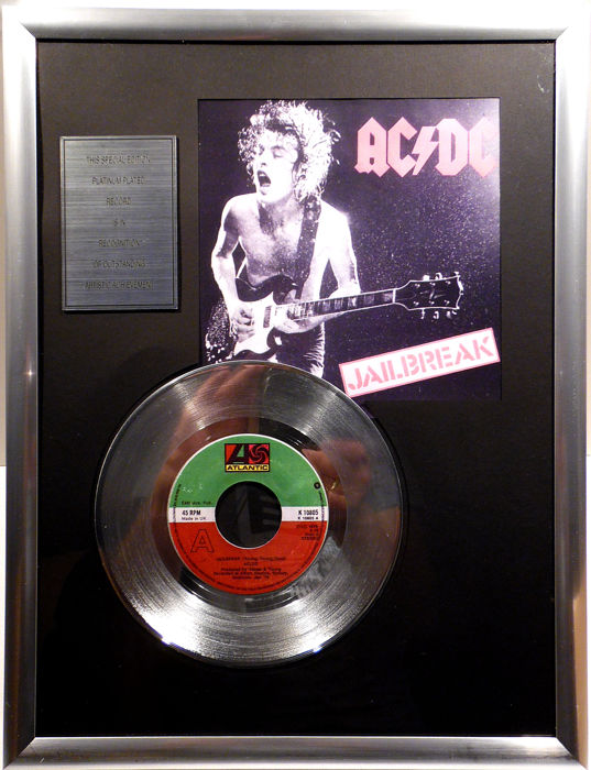 "AC/DC - Jailbreak - 7"" Single Atlantic Records platinum plated record Special Edition"