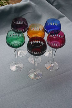 6 Bohemian crystal wine glasses