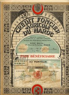 LOT :  2 titles Top Deco Africa: 1892 Tunisian Government loan + Credit farmland of the Morocco