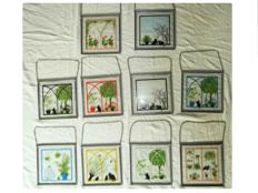 10 items - stained glass style, signed by Dutch designer Coos Storm