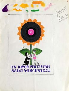"Peynet, Raymond - Original study for promotional poster for ""Un disco per l'estate"""