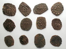 Italian Mints – Lot of 12 Swabian and Aragonese coins from the 12th Century.